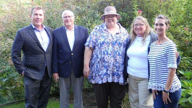 Taken at preserved property at Windway House Sept. 5, Glacial Lakes Conservancy accepts a conservation easement. Pictured from left: Eric Zufelt, Windway Capital Corp. Board; Andrew Morris, Glacial Lakes Conservancy Board president; Mary Piehl, GLC executive director; Leslie Kohler, Windway Capital Corp. CEO; and Abbey Vizelka, GLC land protection coordinator.