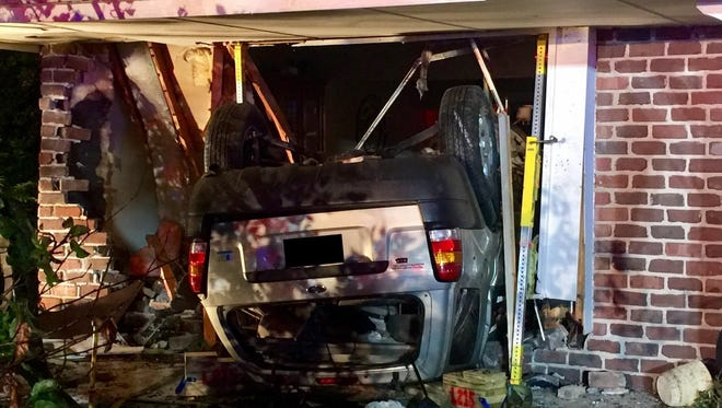 This car struck a West Des Moines house the evening of Sept. 25, 2017. The driver was hospitalized in critical condition. No one else was hurt, police said.