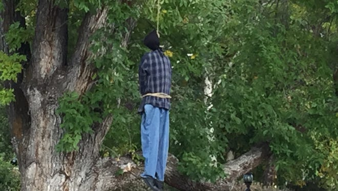 The Halloween decoration hung outside of a man's house in Holladay, Utah, has garnered concerns from the public and city officials.