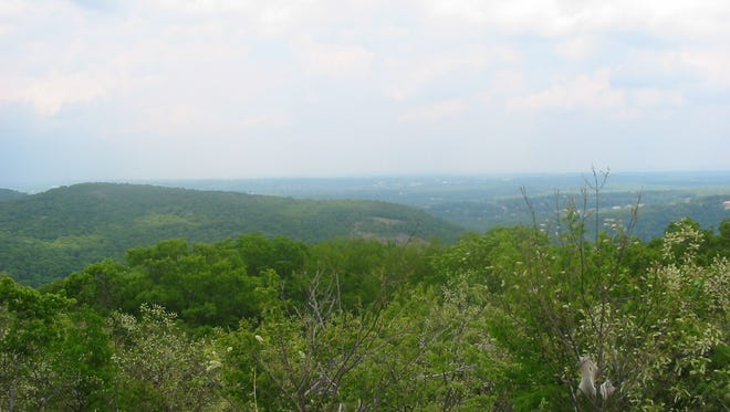 The view over Bergen County from the viewpoint at the higher point of the ridge along the Yellow Trail. Ramapo Valley County Reservation at Mahwah.