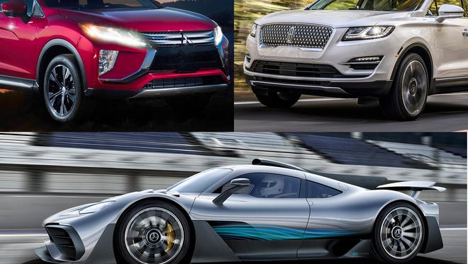 Clockwise from upper left, 2018 Mitsubishi Eclipse Cross, 2019 Lincoln MKC and Mercedes-AMG Project One super car