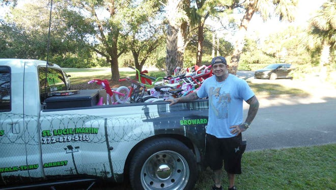 Through John Garappolo, his Inzane Tatoo staff and the generosity of the community, more than $5,200 worth of toys, games, gifts and 11 bicycles were donated to Hibiscus Children's Center in St. Lucie County.