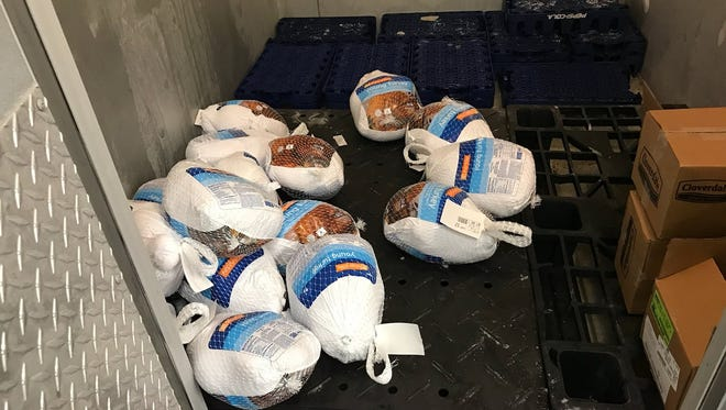 Some of the turkeys the Salinas Salvation Army has used to replace about 150 frozen turkeys that were ruined when a freezer malfunctioned. The turkeys were going to be given to families on Saturday.