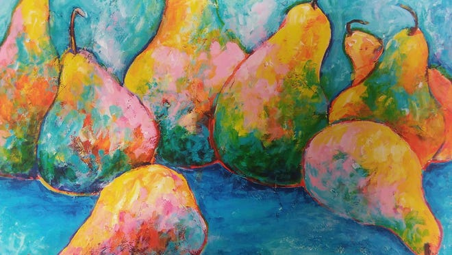 By popular demand, Sally Quillin will teach two classes on May 23 with acrylic painting of a pear still life.