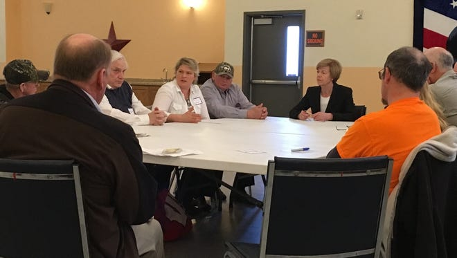 Holly Lindner of Loyal talks during a Dairy Farmers Roundtable in Neillsville on Wednesday.