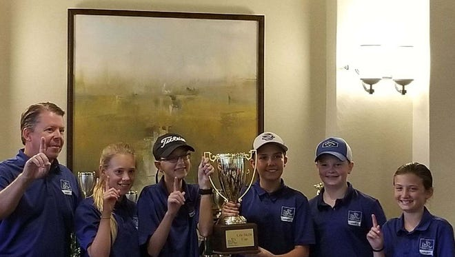Coach Scott Piper (left) and players Regan Bumpous; AlexGruel; Davis Piper; Matt DeRienzo, Payton Balliet won the inaugural Life Skills Cup at The First Tee of Naples/Collier's Middle School Golf Championship on Saturday, May 19, 2018 at Quail Village.
