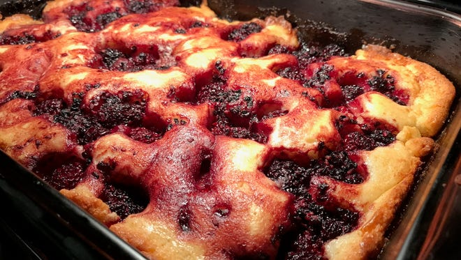 Blackberry cobbler that is about ready to come out of the oven.