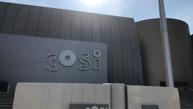 The COSI Lego model sits in front of COSI in Columbus on Thursday morning. The model will appear in MINILAND at the facility, which opens Sept. 21.