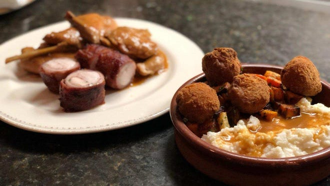 Whole braised rabbit, polenta, roasted root vegetable prosciutto croquettes from A Toute Heure.