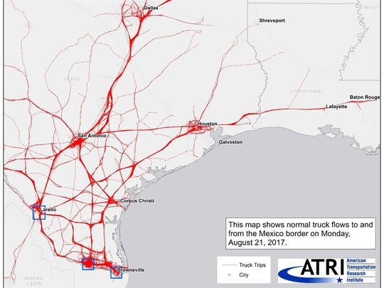 Map of truck routes to and from the Mexico border on