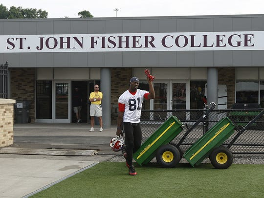 This was a rare quiet moment for Terrell Owens during the one summer he spent at Fisher with the Bills.