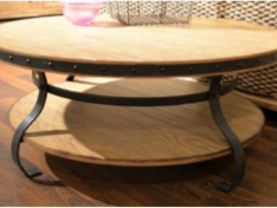 Occasional pieces usually feature wood tops with metal bases