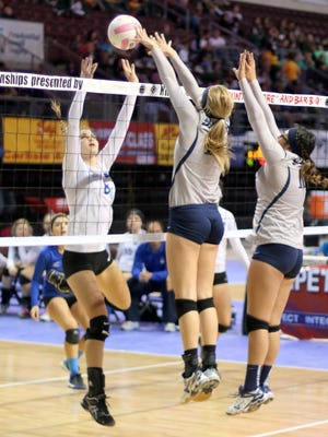 Silver's defense was tough at the net during pool play at the Class 4A state tourney in Rio Rancho.