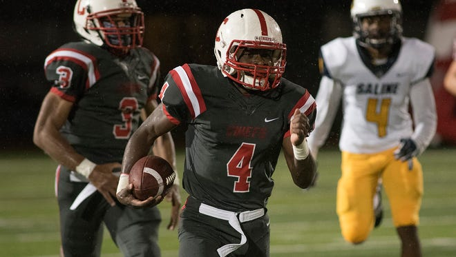 Steven Walker (4) provides big-play explosiveness for a Canton team that will continue to pound the football under new head coach Andrew LaFata.