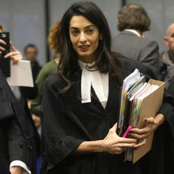 Amal Clooney, a member of a legal team representing for Armenia, arrives at the European Court of Human Rights in Strasbourg, France.