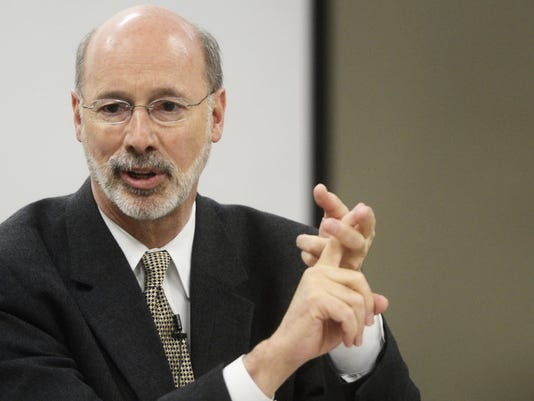 Gov. Tom Wolf discusses policy during a YDR editorial board session.