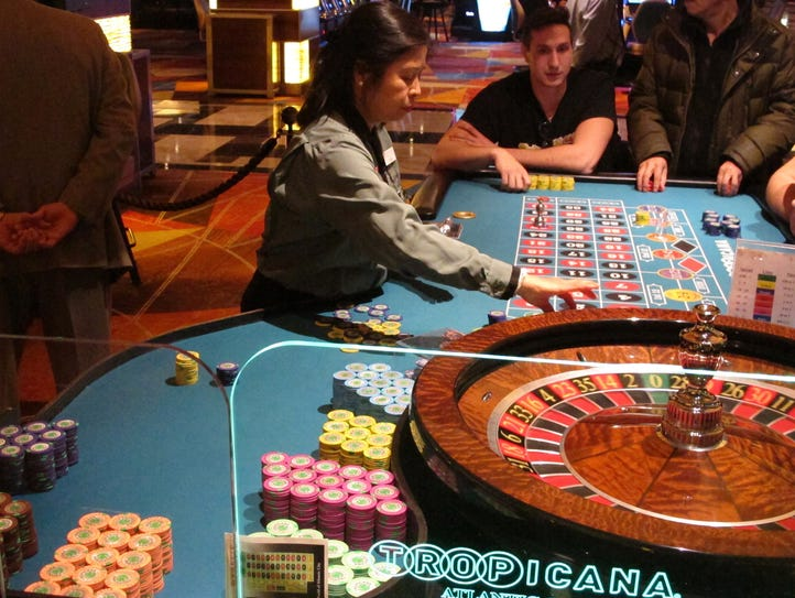 This Jan. 31, 2018 photo shows a roulette game under