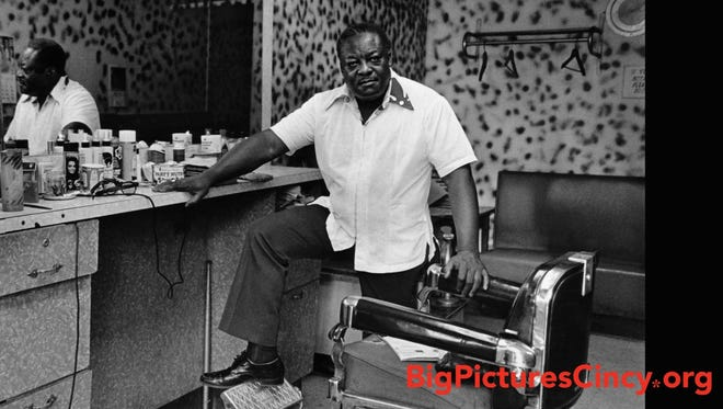 """Dawoud Bey, """"Deas McNeil, The Barber,"""" 1976. The Bey portrait will be on a billboard on Reading Road, just north of the Norwood Lateral."""