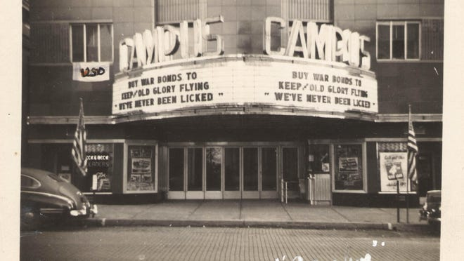 During World War II, the Campus Theater in downtown Lewisburg, Pa., displayed patriotic messages.