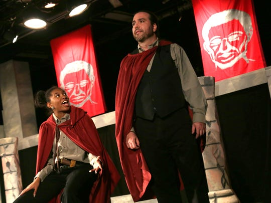 Naesha Greathouse and Scott Smith, play Cassius and Brutus respectively, during a rehearsal of The Tragedy of Julius Caesar at Founder Auditorium in The Ohio State Mansfield campus.