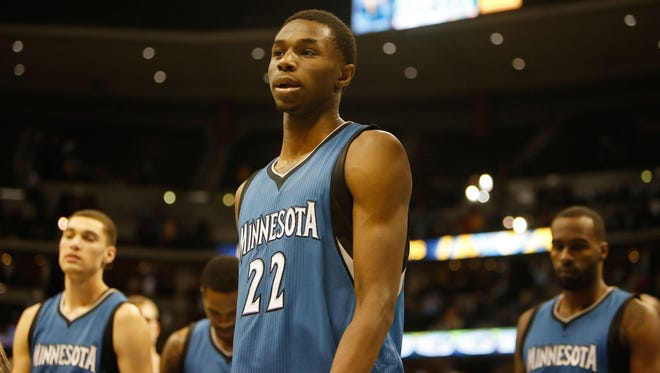 Minnesota Timberwolves forward Andrew Wiggins (22) during the game against the Denver Nuggets at Pepsi Center.