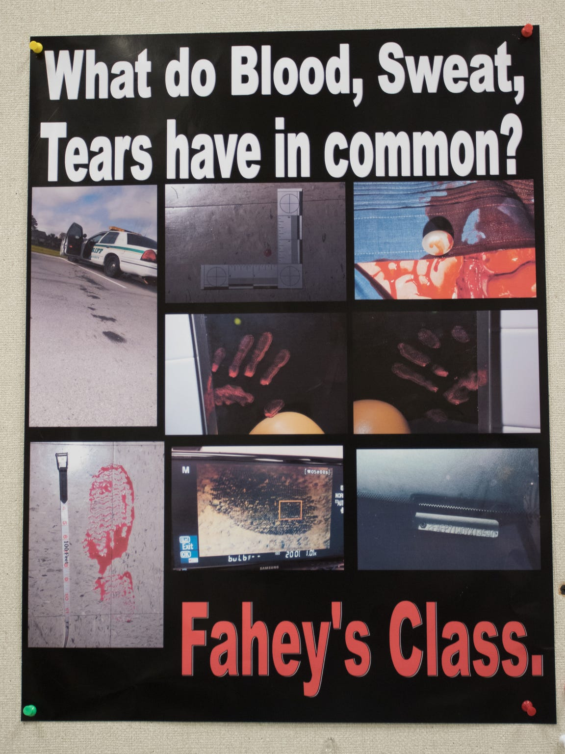 This poster welcomes students to Professor Dennis Fahey's