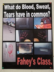 This poster welcomes students to Professor Dennis Fahey's advanced crime scene class at Florida SouthWestern State College.