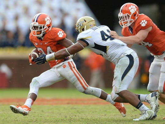 Clemson wide receiver Ray Ray McCloud (34) tries to