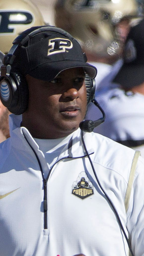 Purdue head coach Darrell Hazell looks on during the