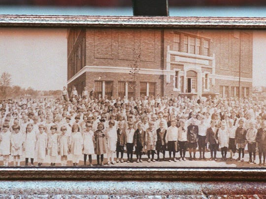 A photo that hangs at Rountree Elementary shows the school population in the 1930s.