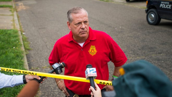 Binghamton Police Chief Joseph Zikuski addresses the media after two people were shot and one person was killed Aug. 31, 2016, at 1 Mozart St. in Binghamton.