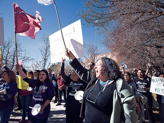 Lauren Reichelt from inside out recovery, leading a peaceful protest at the state capital on Jan. 30.