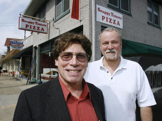 Jim Goodwin, left, is shown in 2007, when he was co-owner of the Shops at Deer Park Avenue, with Chuck Gilbert, right.