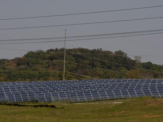 Arrays of solar panels owned by Silicon Ranch are seen