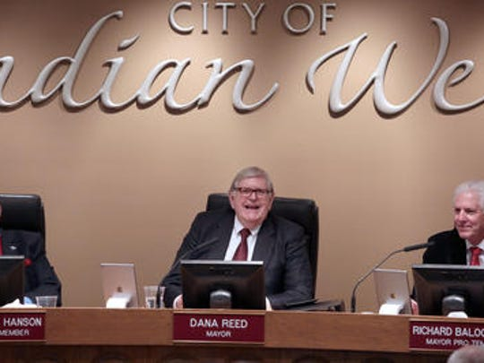 Indian Wells Mayor Dana Reed, center, says the city