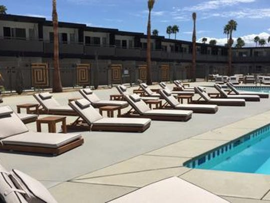 The pool area of the V Palm Springs Hotel.
