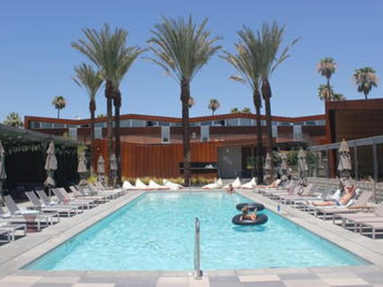 The pool area at Arrive Hotel in Palm Springs.