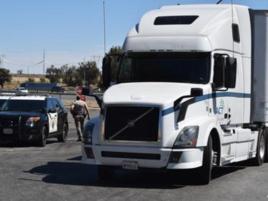 Law enforcement officials spent several hours chasing this stolen big rig through San Bernardino and Riverside counties Tuesday. The suspect was arrested at the Whitewater rest stop off Interstate 10.