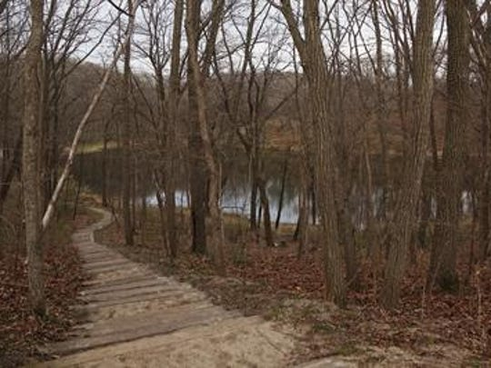 The Lost Lake Trail at Ledges State Park winds up and down rocky bluffs.