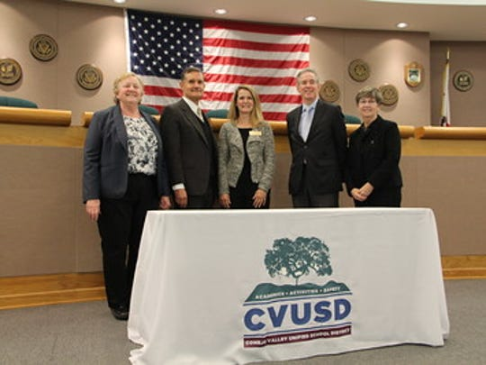Conejo Valley school board members, from left to right: Betsy Connolly, Mike Dunn, Sandee Everett, John Andersen and Pat Phelps.
