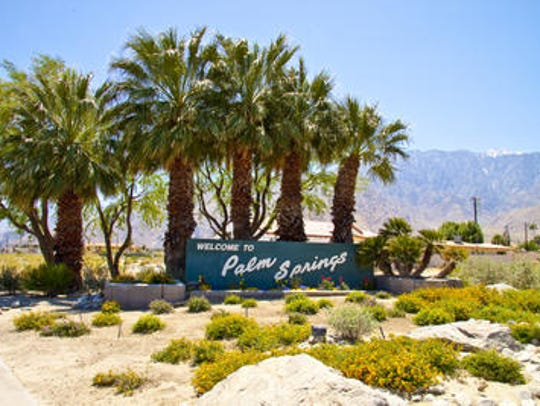 Palm Springs Monument sign Indian Canyon Drive near