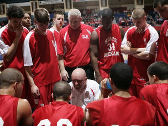 North Rockland coach Chris Roff talks with his team during a time out against Mount Vernon during the Class AA Semifinal game at the Westchester County Center March 1, 2007. Roff is one of four Section 1 coaches who will be inducted into the New York State Basketball Hall of Fame on March 26, 2017.