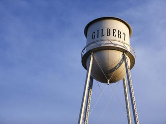 The town's iconic water tower can be spotted at the Water Tower Plaza in downtown Gilbert.