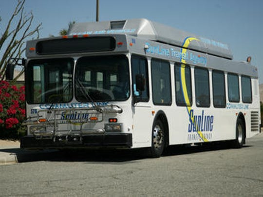 This photo shows a SunLine Transit Agency bus. Free rides are now available for students at California State University -- San Bernardino's Palm Desert campus.