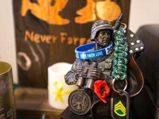 A statue of a soldier inside Rodney Kerksieck's office,