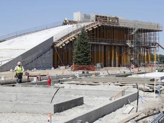 Construction work at the Green Bay Packers Titletown