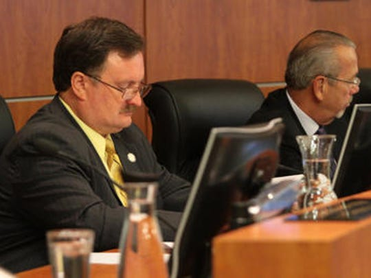 Riverside County Supervisor Kevin Jeffries (left) is shown next to Supervisor John Tavaglione