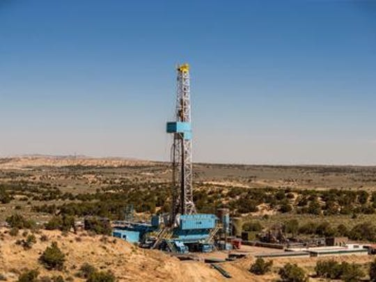 A photo of the Cyclone #32 rig taken three miles southeast of the Nageezi Post Office on Saturday, June 10, 2017. The rig accomplished a new WPX Energy record for most lateral drilling within 24 hours. WPX sold the last of its San Juan Basin assets to an undisclosed third party in early 2018.