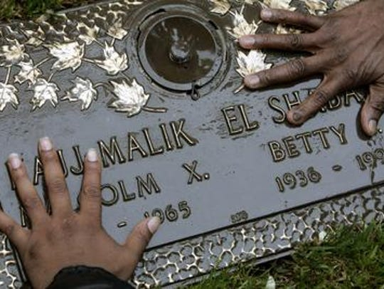 The grave of Malcolm X and his wife, Betty Shabazz