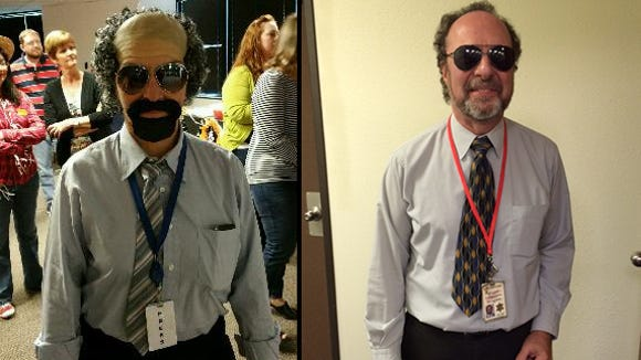 On the left, Sally Stewart, spokesman for School Superintendent Diane Douglas, nails an impersonation of Capitol news reporter Howard Fischer. On the right, The real deal: Howard Fischer of Capitol Media Services.